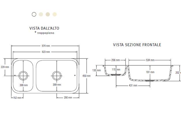 Misure lavello doppio termosifoni in ghisa scheda tecnica for Misure standard cucina